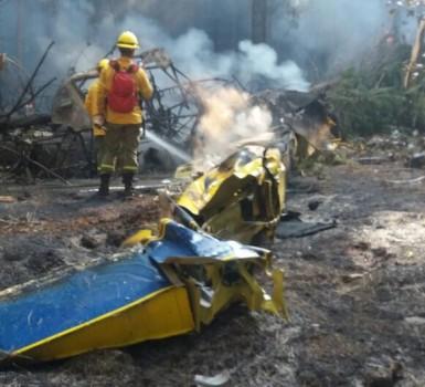 Restos del AirTractor CC-CCj ras su accidente.