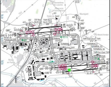 Plano del aeropuerto de París Charles de Gaulle.