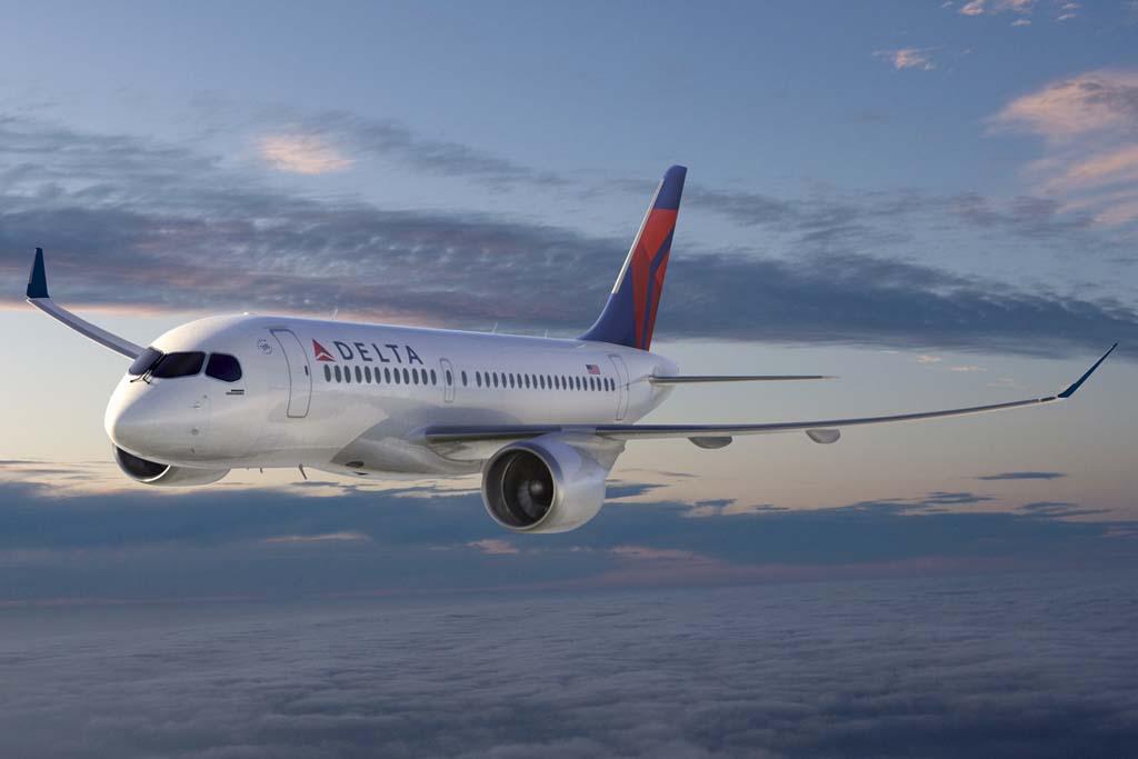 Bombardier CS100 con colores de Delta.
