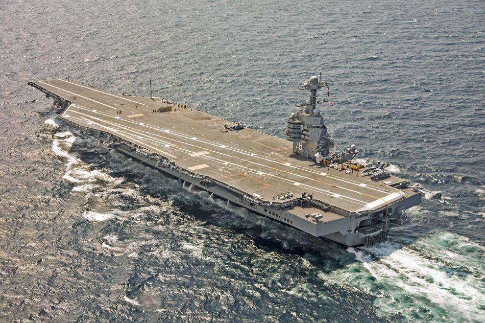 El CVN-78 Gerald Ford, primero d ela nueva clase, durante sus pruebas de mar.