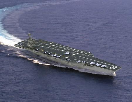 Imagen de un portaaviones de la clase Gerald R. Ford