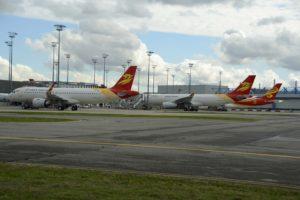 Aviones de Capital Airlines y Hainan Airlines en el centro de entregas de Airbus en Toulouse.