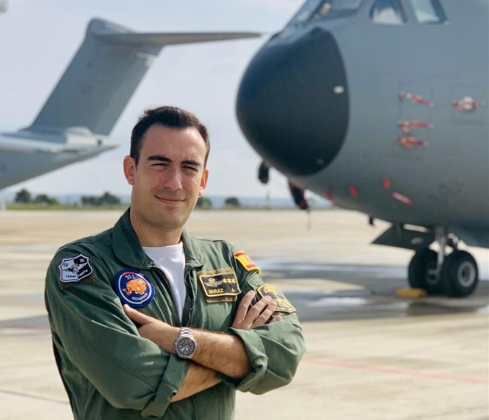 Capitán Carlos Miraz, piloto de A400M del Ala 31.