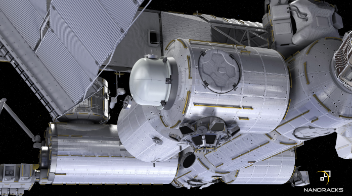 Imagen de como será a esclusa Bishop, desarrollada por NanoRack, una vez instalada en la ISS.