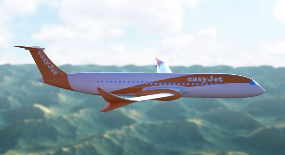 Diseño preliminar del avión eléctrico con sus motores imbuidos en el ala.