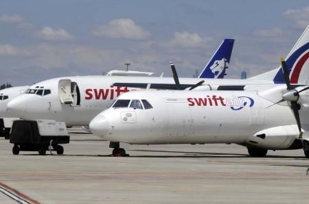 Swiftair opera nueve B-737 de carga (4 serie 300 y 5 serie 400) además de ATR 72 y Embraer Brasilia en versión carguera.