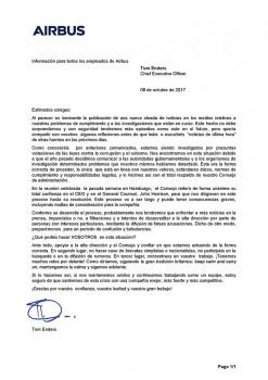 Versión española de la carta enviada por Tom Enders a los 130.000 empleados de Airbus Group.