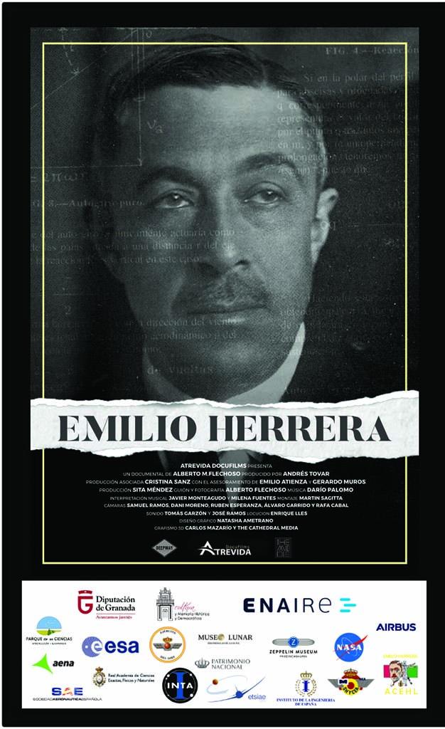 Cartel del documental sobre Emilio Herrera para su pase privado en Madrid.