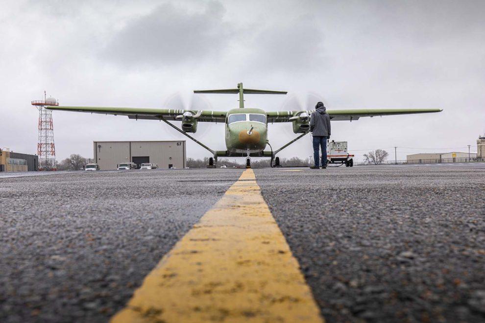 Primera prueba de funcionamiento de los motores Pratt & Whitney PT6A del Cessna Skycourier.