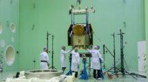 El CHEOPS en las instalaciones de Airbus Space en Madrid durante su montaje y pruebas.