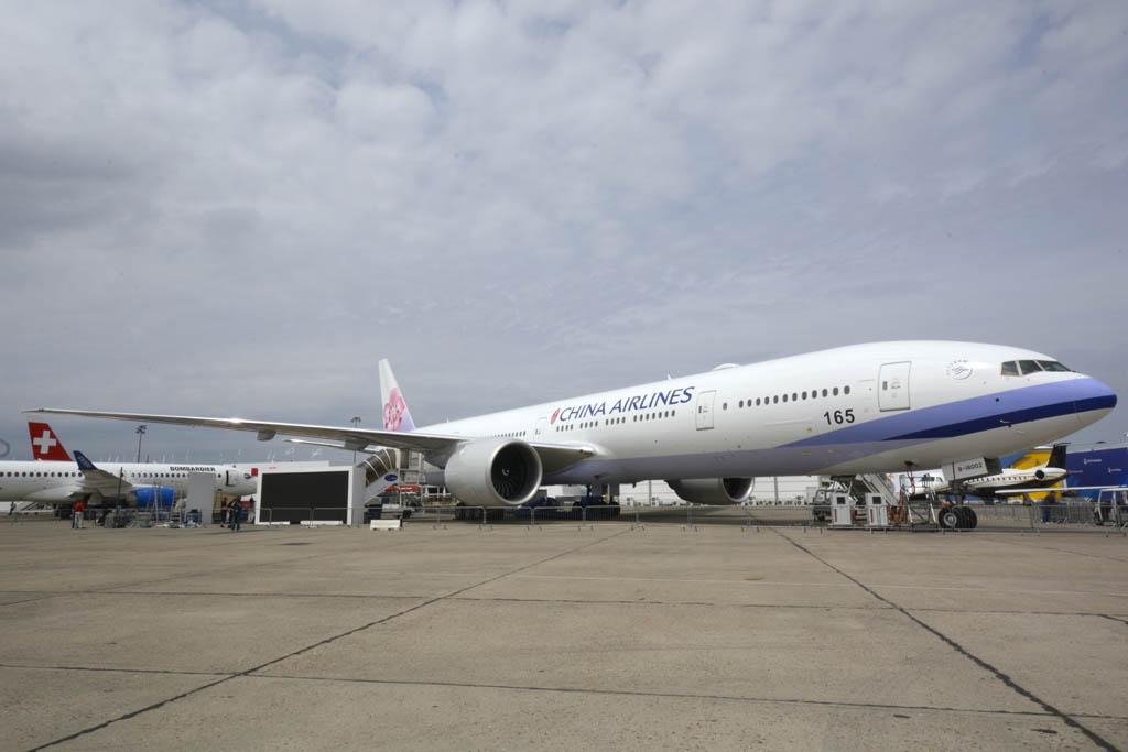 El Boeing 777-300ER de China Airlines presentado en Le Bourget es el sexto entregado de nueve pedidos por la aerolínea.
