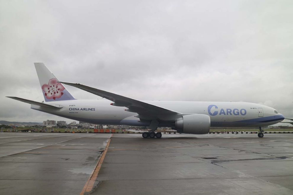 Entre las entregas de 2020 estuvo este B-777F para China Airlines, a medio decorar a la espera de que la aerolínea anuncie su nuevo nombre e imagen corporativa.