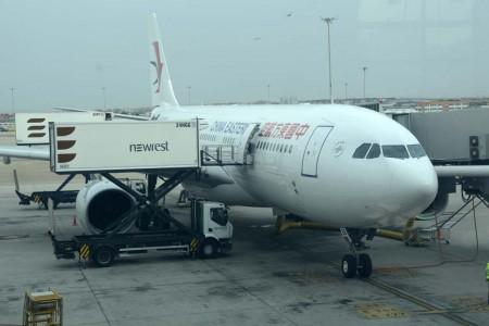 Preparación en Madrid del Airbus A330 de China Eastern del vuelo inaugural Shanghai Madrid Shangai.