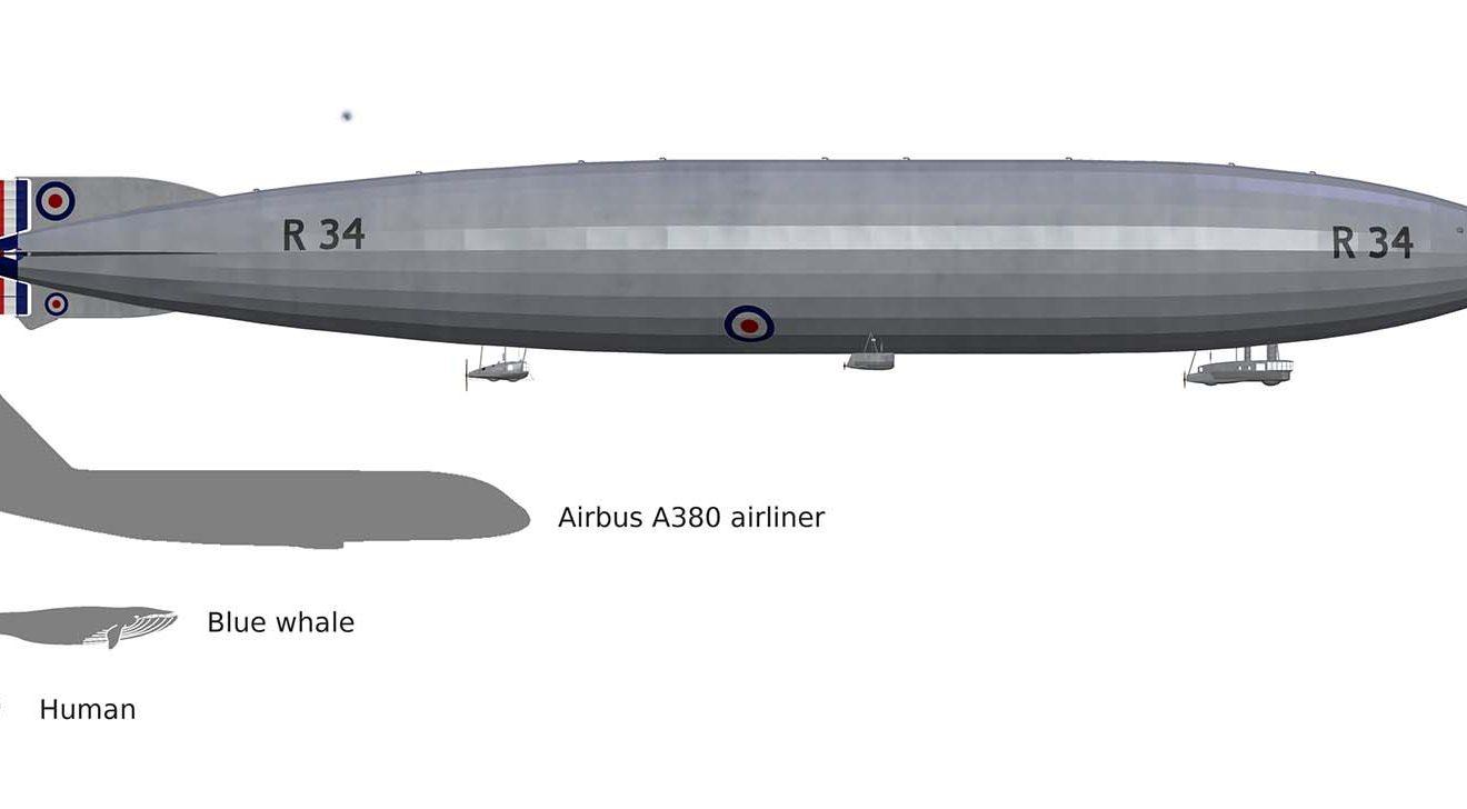Comparación de tamaños entre el R34 y el A380, una ballena azul y un ser humano.