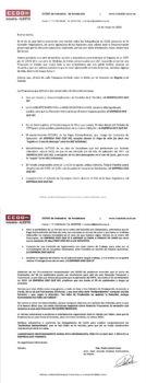 Comunicado de CC.OO a los empleados de Alestis sobre la negociación del ERTE.