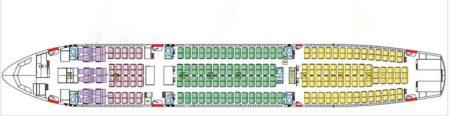 Configuración de asientos de los A340 vendidos: 12 asientos en business y 267 en turista.