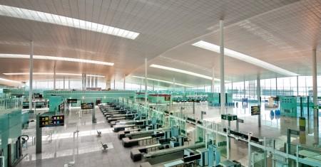 Control de seguridad del aeropuerto de Barcelona.