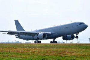 El primero de los cuatro A330MRTT de Corea del Sur aterrizando en Getafe en uno de sus últimos vuelos previos a su entrega.