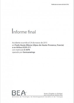 Lee aquí el informe oficial del accidente del Airbus A320 de Germanwings.