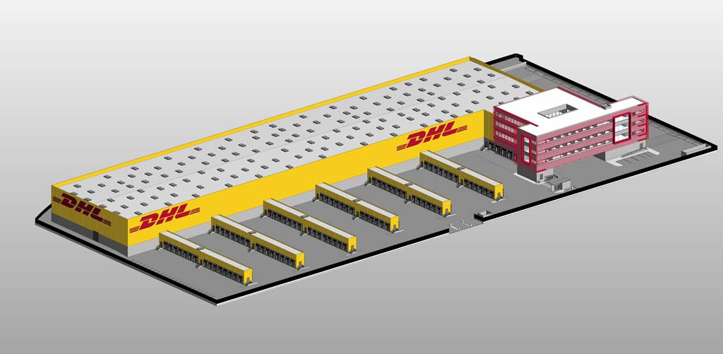 Imagen de cómo será la nueva terminal de DHL en el aeropuerto de Madrid Barajas.