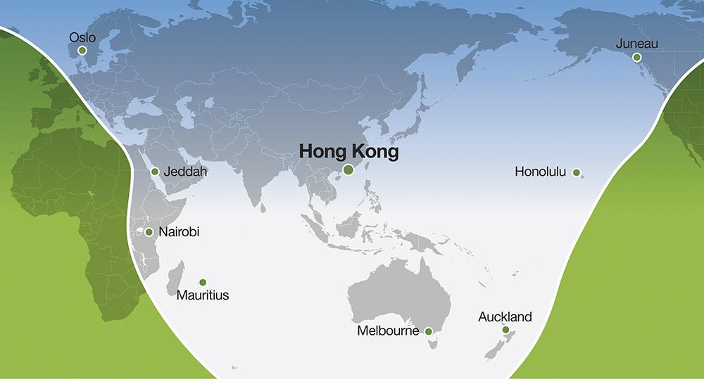 Alcance del Falcon 6X desde Hong-Kong.