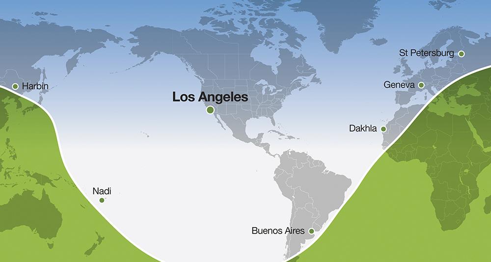 Alcance del Falcon 6X desde Los Ángeles