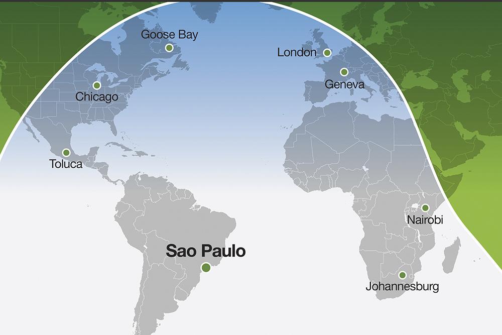 Alcance del Falcon 6X desde São Paulo.
