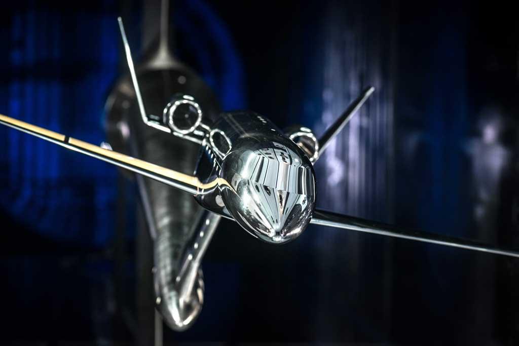 Modelo de túnel de viento de una posible configuración de un avión ejecutivo avanzado en estudio por Dassault.