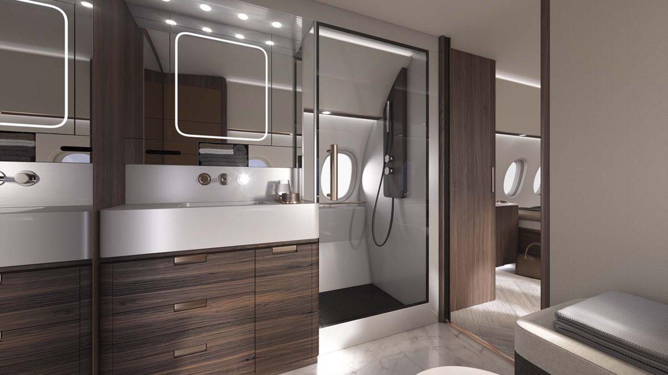 La suite privada del Dassault Falcon 10X puede incorporar una ducha.