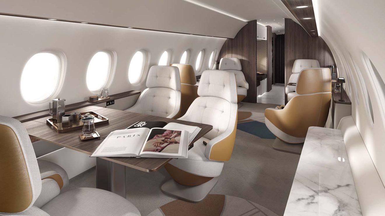 Dassault ha diseñado la cabina del Falcon 10X como la más ancha y alta entre los aviones corporativos.
