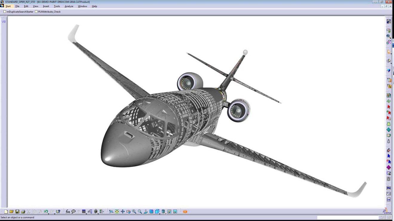 Modelo Catia 3D del Falcon 6X usado para el desarrollo del avión.