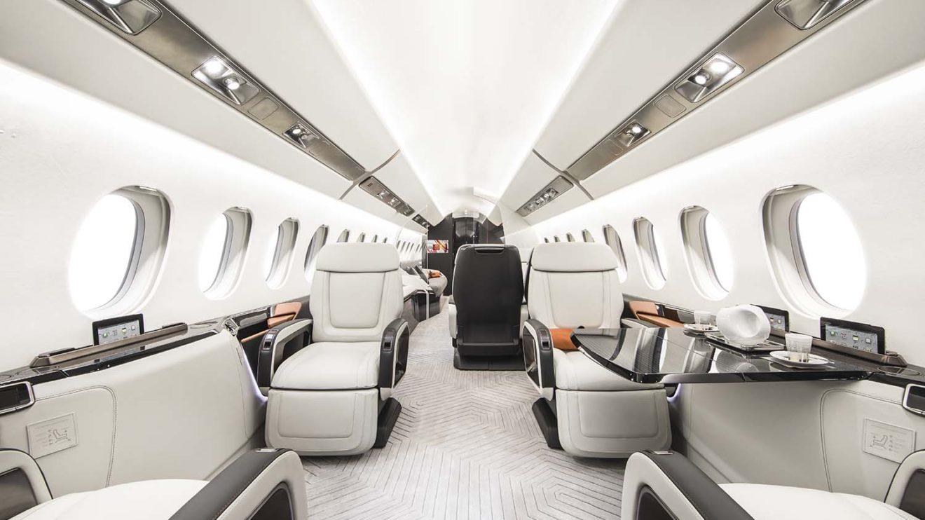 La cabina del Falcon 6X podrá albergar a hasta 16 pasajeros, si bien lo normal serán ocho o menos.