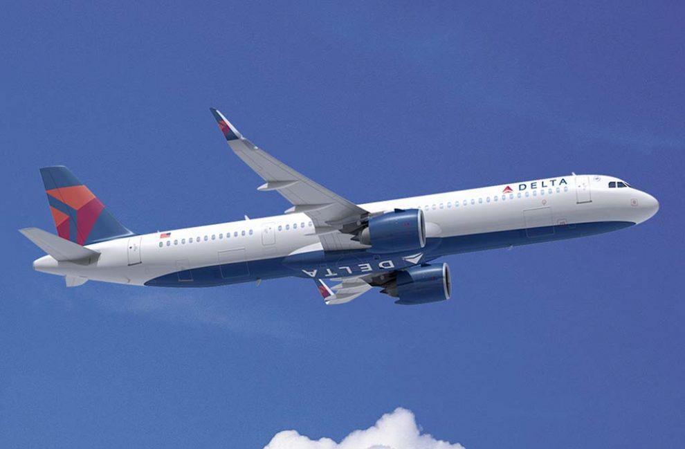 Ilustración del Airbus A321neo con los colores de Delta.