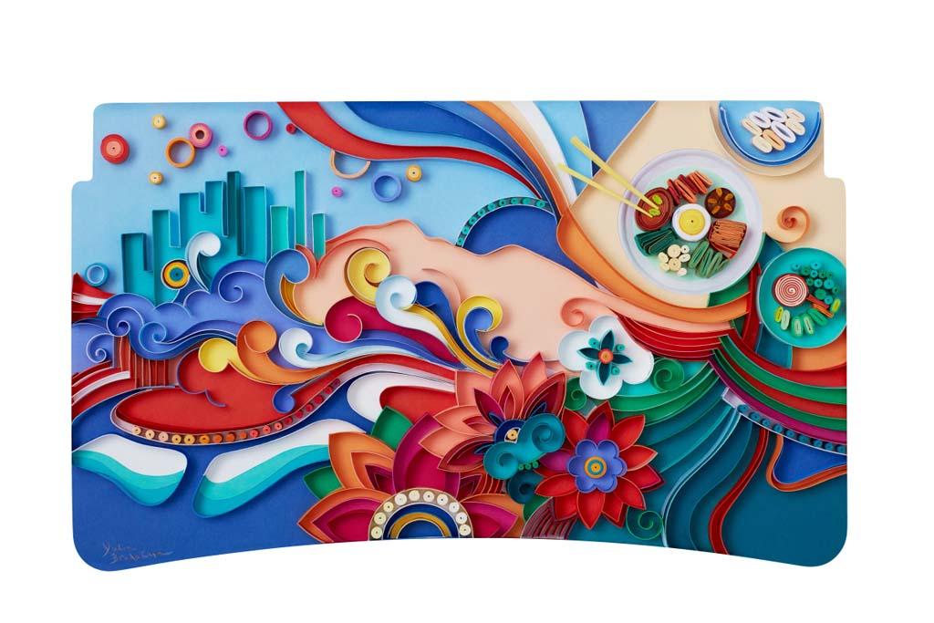 Yulia Brodskaya (Seul) – Aunque pueda parecer pintado, el retrato de Yulia de Seúl fu realizado íntegramente con papel. Este estilo único captura perfectamente el sabor de la ciudad, sus colores vibrantes y su cocina icónica.