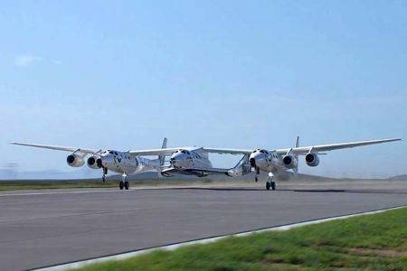 Despegue del VNS Eve con VSS Unity entre los dos fuselajes del avión nodriza.