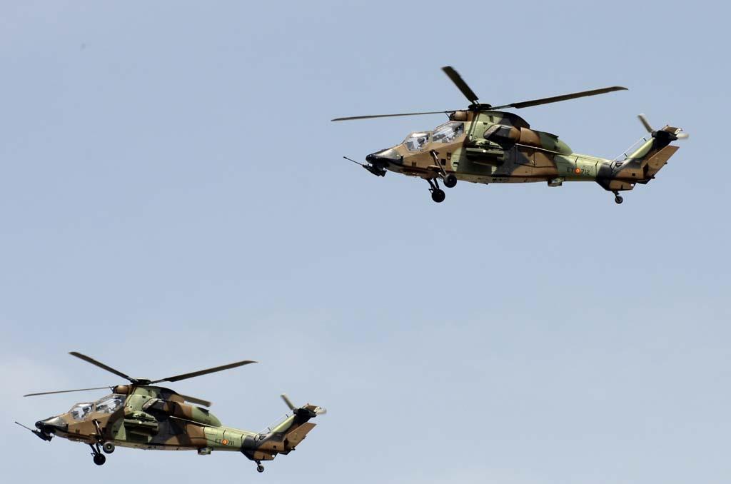 Dos de los Tigre del BHELA I (Batallón de Helicópteros de Ataque) con base en Almagro (Ciudad Real).