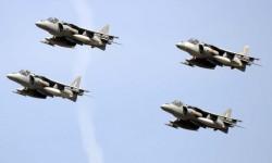Cuatro Harrier de la 9ª Escaudrilla de la Armada.