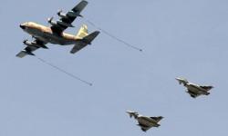 Formación de reabastecimiento en vuelo con un KC-130 del Ala 31 y dos Eurofighter del Ala 14.