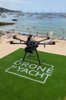 Superficie asignada en el restaurante Can Yucas para el despegue y aterrizaje de los drones.