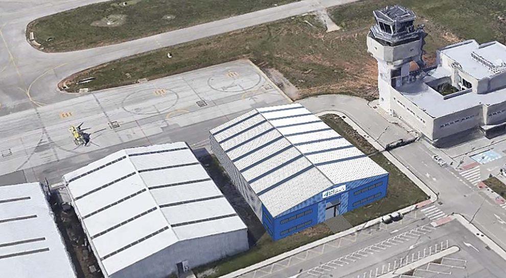 Aspecto que ofrecerá el nuevo hangar de EAS Barcelona en el aeeropuerto de Sabadell.