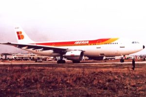 El primer A300 de Iberia a su llegada a Getafe procedente de Toulouse.