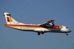 Uno de los ATR 72 que Air Nostrum quiere remotorizar con motores eléctricos y pila de hidrógeno.