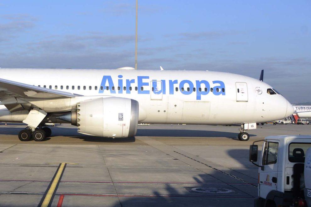Boeing 787 con el que Air Europa cubre rutas a Latinoamérica.