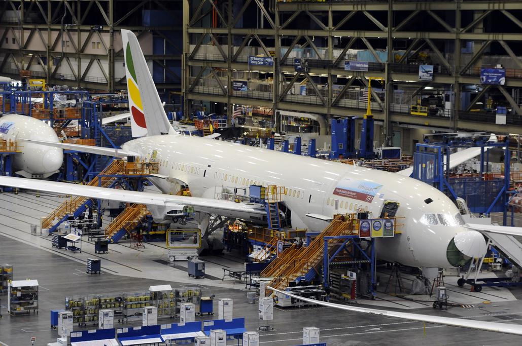 Boeing 787 de Ethiopian Airlines en la cadena de montaje.