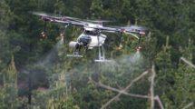 UAV de Ecodrones trabajando en una misión de fumigación.