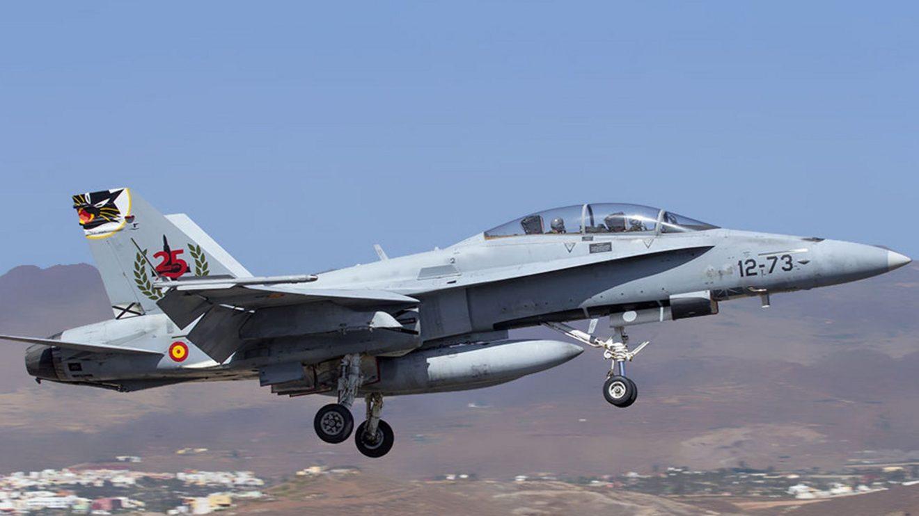 F/A-18 decorado especialmente para celebrar los primeros 25 años de este modelo en el Ejército del Aire.