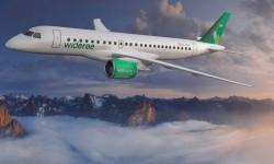 la última imagen difundida por Embraer de un E190-E2 de Wideroe para anunciar la fecha de entrega incluye una nueva decoración del avión.