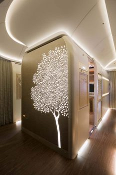 Como elemento decorativo a lo largo de la cabina de primera clae de los Boeing 777 de Emirates  se ha elegido una representación del Ghaf, el árbol nacional de Emiratos Árabes.