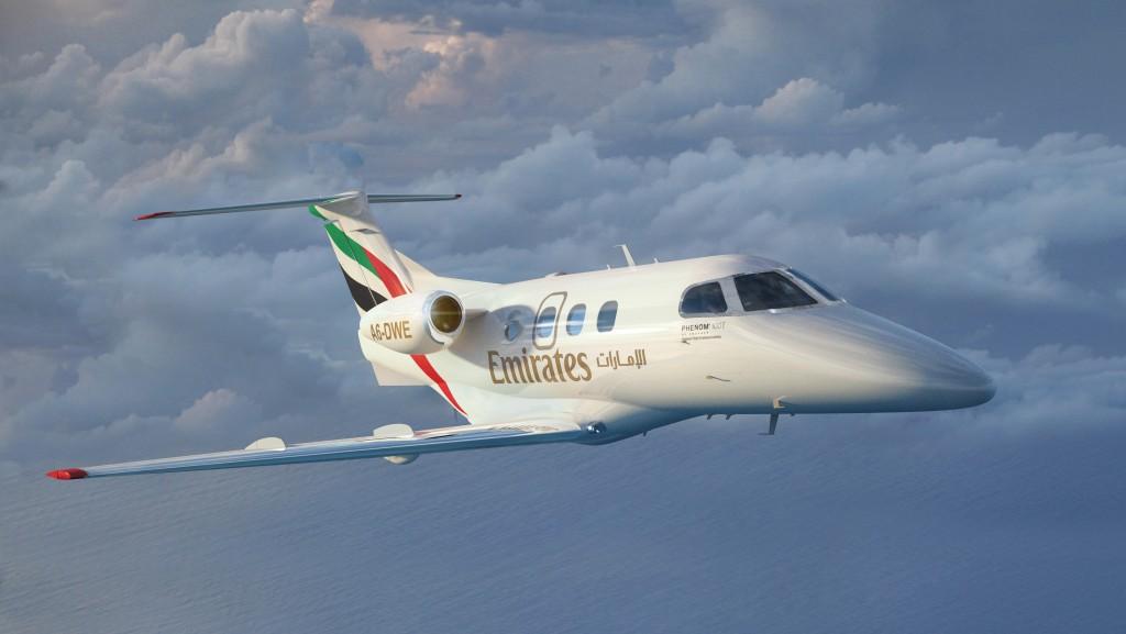 Así irán decorados los Embraer Phenom 100E de la escuela de pilotos de Emirates.