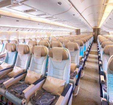 Asientos de clase turista de los Boeing 777-200LR de Emirates
